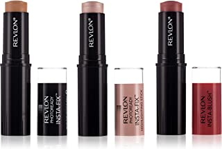 Revlon Photoready Insta-Fix Make Natural Beige, Highlighting Stick Pink Light, Insta-Blush Berry Kiss Pack - 0.149 gm