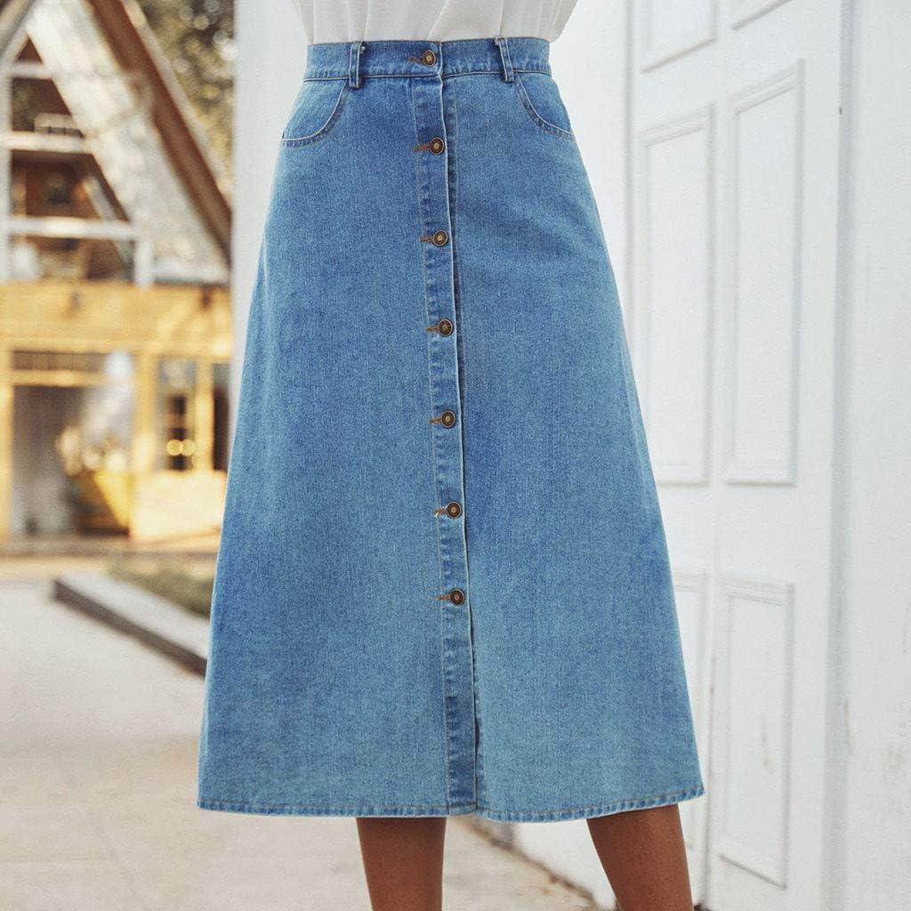 EINCcm Womens Button Front Denim Skirt Knee Length a-Line Jean Skirts High Waist Flare Chic Wrap Skirt Dress with Pockets