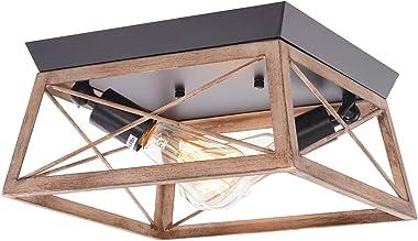 HMVPL Flush Mount Lighting Fixtures, Industrial Close to Ceiling Light Farmhouse Mini Ceiling Lamp 2-Light for Kitchen Island