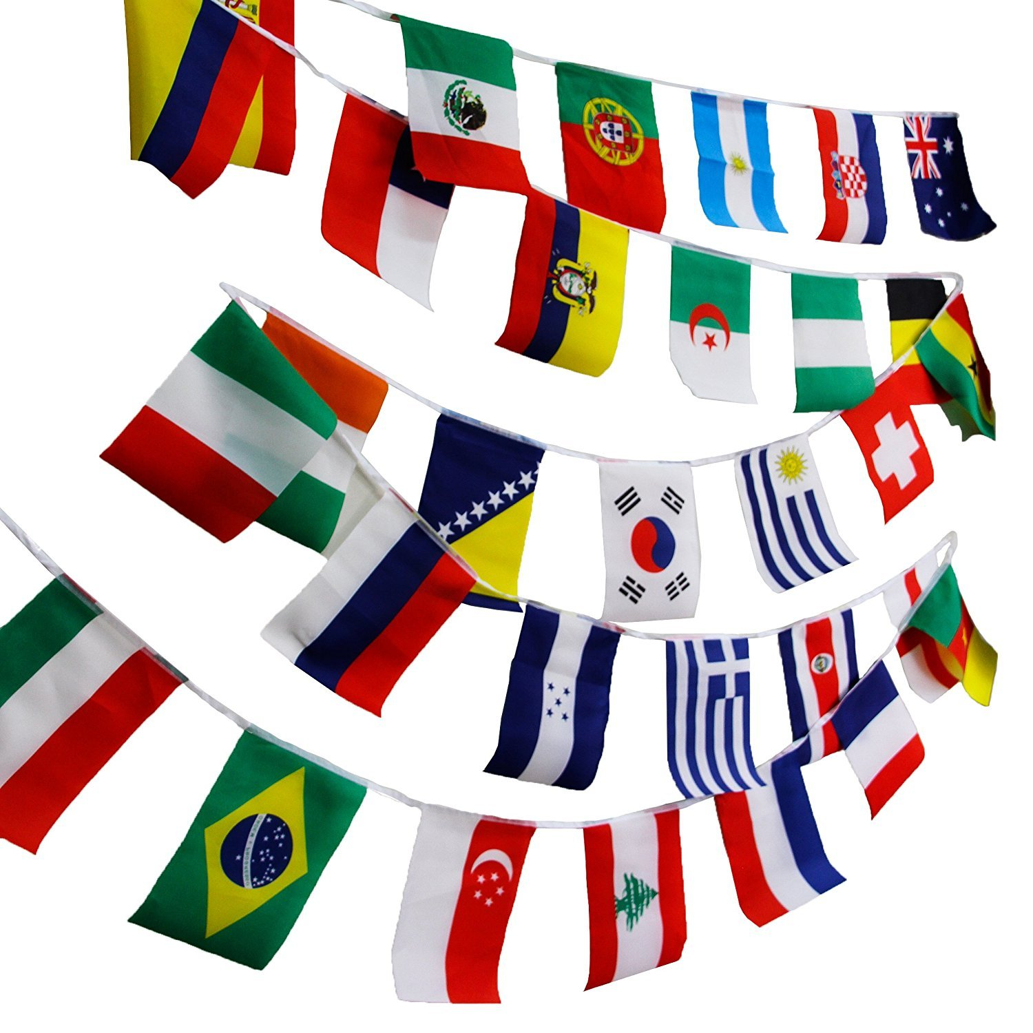 25ft Sports MULTI NATION Party International Flag Plastic Decorating Material