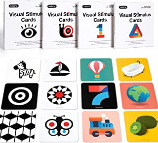 beiens High Contrast Baby Flashcard, 80 PCs 160 Page Black White Colorful Visual Stimulation Learning Activity Card for Ba...