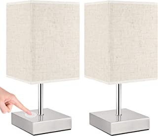 Lampe de chevet Tactile, Lovebay Lampe de Table Dimmable E14 LED lampes de chevet en lin Une Paire Lampe de Chevet Moderne...