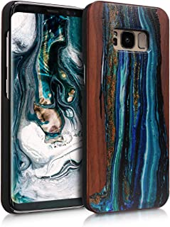 kwmobile Wood Case Compatible with Samsung Galaxy S8 - Non-Slip Natural Solid Hard Wooden Protective Cover - Watercolor Waves Blue/Brown