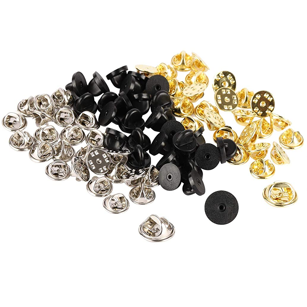 400 Pin Rubber Backs Metal Butterfly Clutch Clutches Tie Tacks Pins Badge Insignia Keepers Replacement (Silver, Gold, Black)