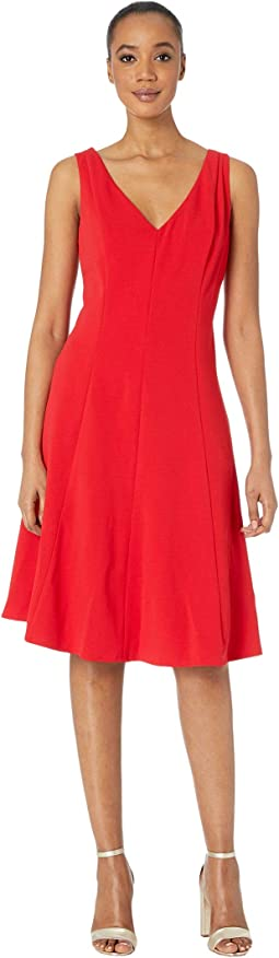 Sleeveless Stretch Crepe V-Neck Fit-and-Flare Dress