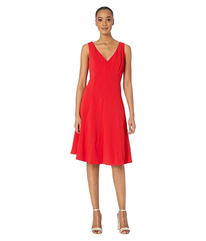 Donna Morgan  Sleeveless Stretch Crepe V-Neck Fit-and-Flare Dress (Red) Womens Clothing