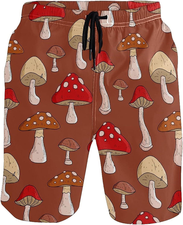 Mens Swim Trunks Wild Food Red Yellow Mushroom Pattern Beach Board Shorts