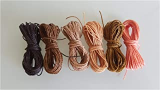 Genérico Mix Tierra Thread Waxed 1mm, 6 Packs of 5 Meters per Color Nylon Bracelets Beads Macrame Thread Waxed Polyester Cord Thread Macrame