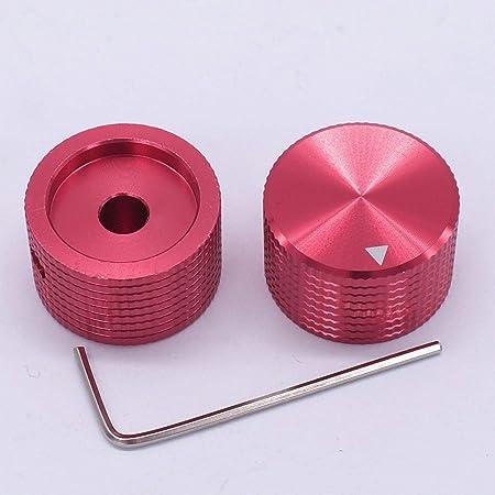 TWTADE 25mm 大径アルミノブ TWTADE / 2個レッドアルミニウムロータリー電子制御ポテンショメータノブ、直径6 mmシャフト、ボリュームコントロールノブ、オーディオノブ、ギターノブ、スイッチノブ、直径25 mm。高さ15.5mm R