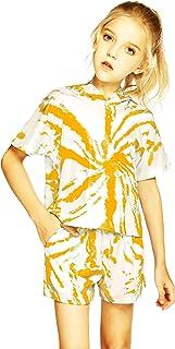 Arshiner Little Girls Clothing Sets Short Sleeve Outfits 2 PCS Top Leggings Sets Orange 5-6 Years
