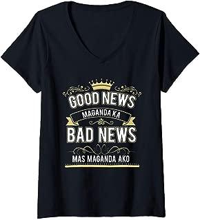 Womens Funny Statement Philippines Ladies Witty Filipino Women V-Neck T-Shirt