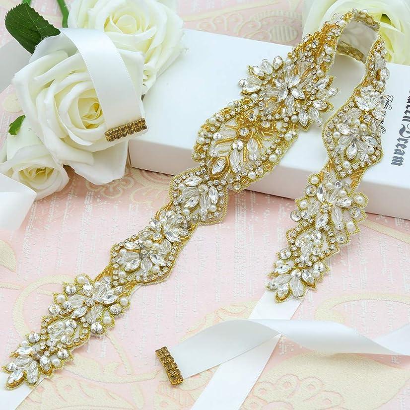 Bridal Rhinestone Applique,Rhinestone Bridal Sashes Hand Gold Crystal for Bridesmaid Dress