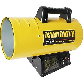 Hiland HIL-SHOP-LP60 HIL-SHOP-LP40 Propane 60,000 BTU Forced Air Warehouse/Shop Heater w/Stand, Yellow