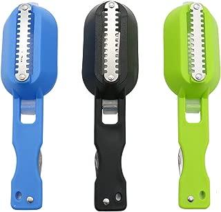 Pack of 3 Buorsa Fish Scale Cleaner Skin Steel Skin Scraper Brush Shaver Remover Descaler Skinner Scaler Fishing Tools Knife,Black & Green & Blue