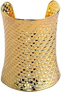 Gold Cuff Bangle Bracelet Made of Metal Plated Gold Adjustable