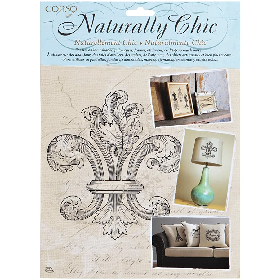 Wrights Naturally Chic Iron-On Transfers-Fleur De Lis 7-1/4