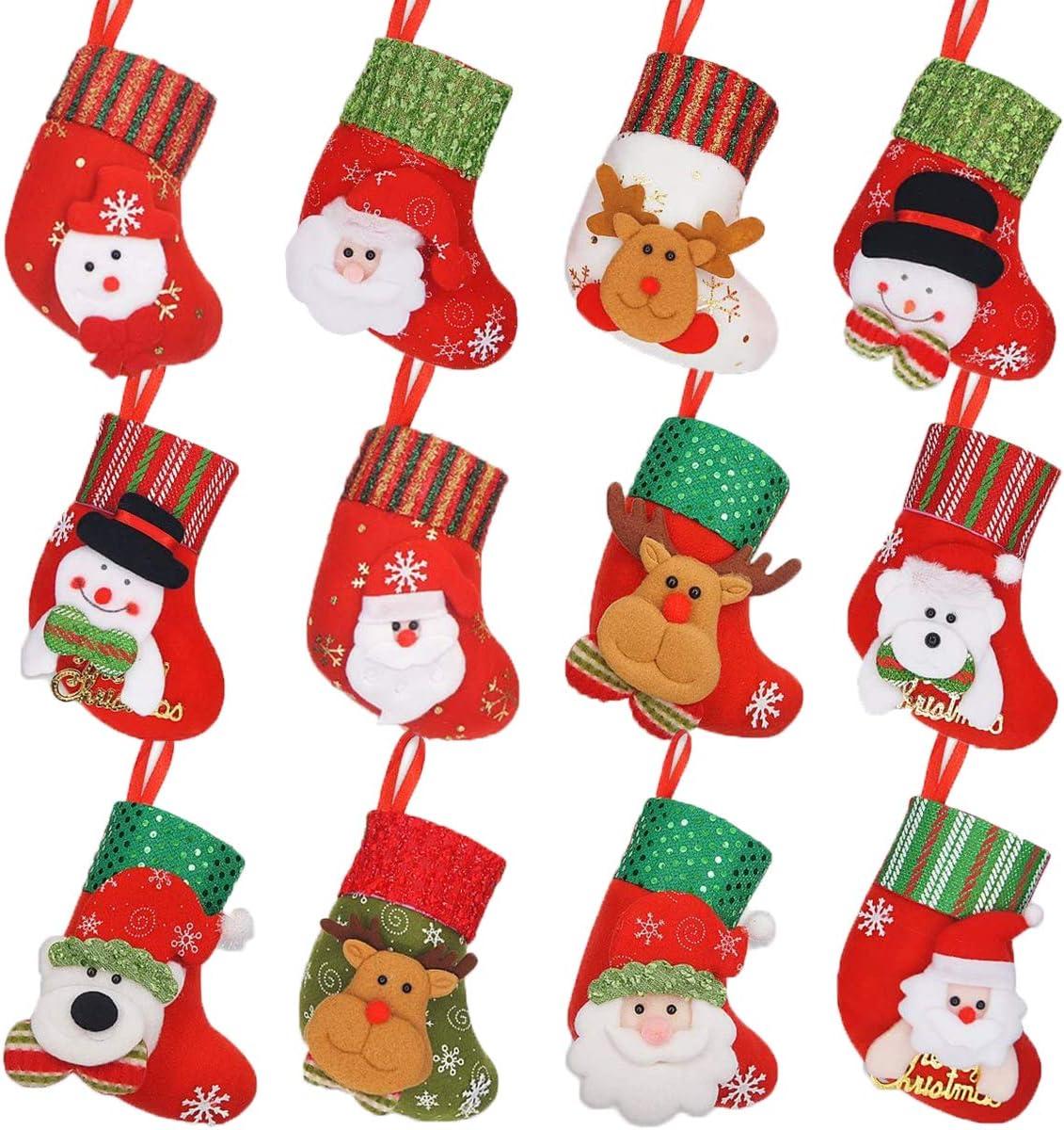 LimBridge Max 40% OFF Christmas Mini Stockings 12 Pack 3D Small inches Sacramento Mall 6.25