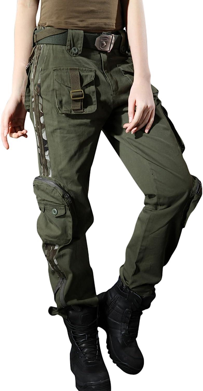 Chouyatou Women's Casual Camouflage Multi Pockets Cargo Pants
