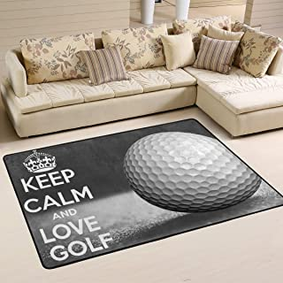 XiangHeFu Personalized Area Rugs Keep Calm Golf Ball Sport 3'x2' (36x24 Inches) Floor Doormats Mat Soft for Living Room Bedroom Home Kitchen Decorative