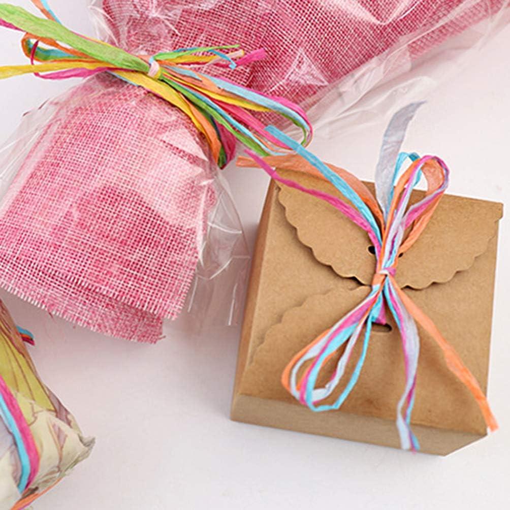Healifty 1 Rotolo di Strisce di Rafia spago di Carta colorato Nastro di Carta di Rafia Che avvolge Il Filo per Artigianato Fai da Te Decorazioni per Feste Natalizie Stile a