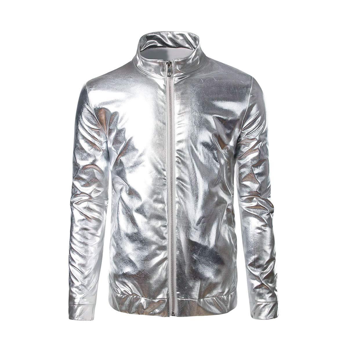 Keepline Mens Gold Zipper Jacket Hooded Metallic Hip Hop Nightclub Dancing Party Jackets
