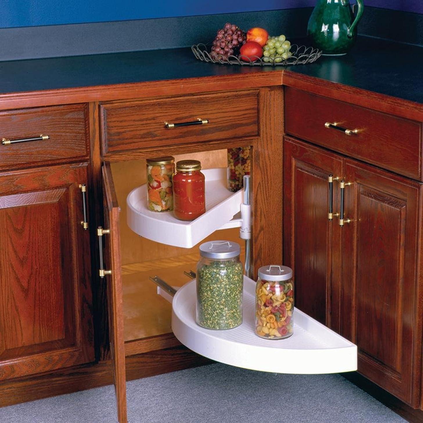 Half Moon Lazy Susans-Bottom Shelf Pull-Out Plastic Two Shelf Sets, Including Hardware