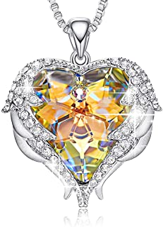 Monkeyas Angel Wing Pendant Necklace White Gold Plated Women Jewelry Heart of Ocean Made with Swarovski Crystals Necklaces ¡­