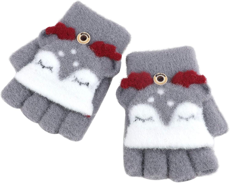 Toddler Kids Elk Desgin Short Knitted Half Finger Gloves with Flip Top for 1-3 Yrs