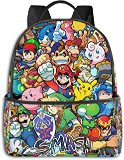 Legend of Zelda Sonic Pikachu Super Mario Smash Bros Kirby - Mochila unisex con dibujos animados impresos, 36,8 x 30,5 x 12,7 cm