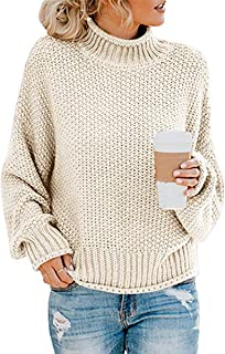 Women's Turtle Neck Oversized Chunky Knit Jumper Pullover Sweaters