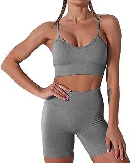 Women Seamless Yoga Set 2 Piece Workout Sport Bra with High Waist Shorts Legging Outfit Tracksuit.JNINTH