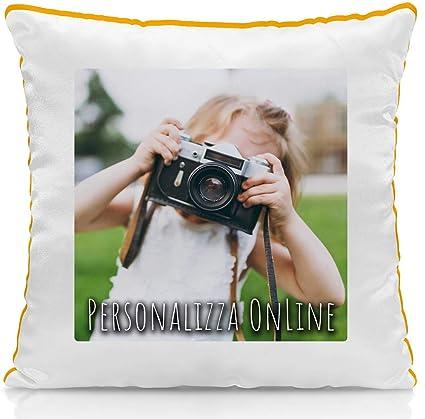 Cuscino Personalizzato Con Foto Con Imbottitura Quadrato 40 X 40 Cm Colore A Scelta Arancione Amazon It Casa E Cucina