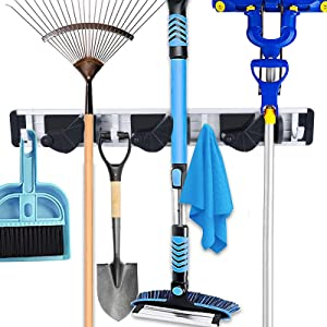 AUPHTIR Mop and Broom Holder Wall Mount, Garden Tool Storage Organizer, Household Goods Wall Rack, Suitable for Garage, Storage Rooms, Kitchen And Laundry Rooms.3 Positions, 4 Hooks (Black)