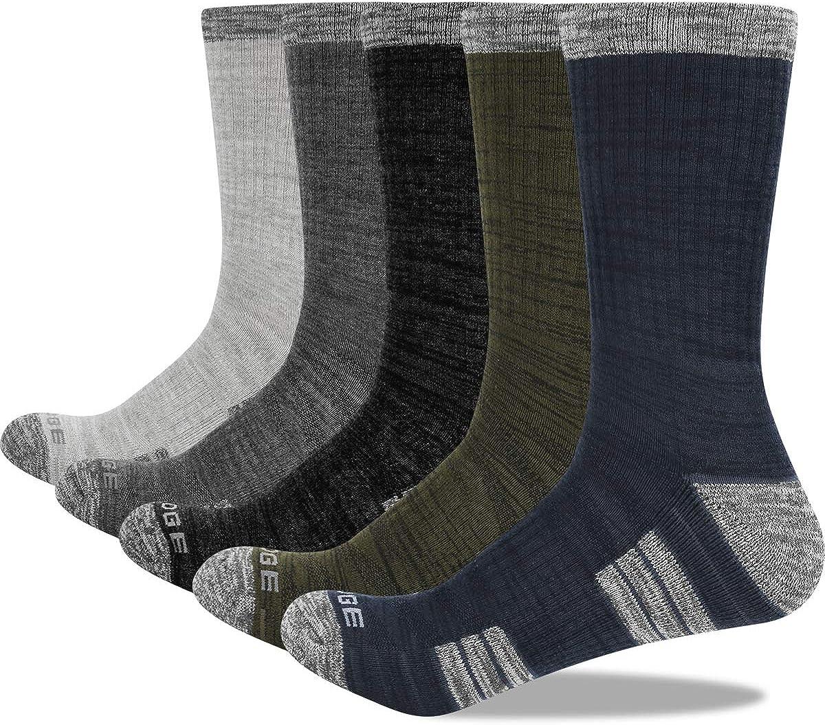 YUEDGE Men's Moisture Wick Cushion Hiking Socks Comfort Crew Boot Socks For Men Size 7-13, 5 Pairs/Pack