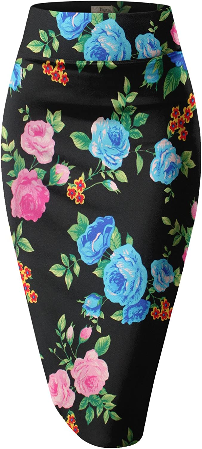 HyBrid & Company H&C Women's Elastic Waist Stretchy Office Pencil Skirt With Beautiful Prints