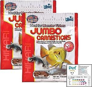(2 Pack) Hikari Tropical Jumbo Carnisticks Fish Food, 17.6 oz (500g) with water test strips