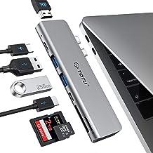 TOTU MacBook Pro USB Adapter, 7-in-1 MacBook Pro USB C HUB to 4K HDMI,Thunderbolt 3 100W PD 40Gbps 5K@60Hz,USB C 3.0,2xUSB 3.0,5Gbps SD TF Card Reader for MacBook Pro 2018 2017 2016, MacBook Air 2018