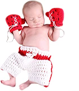 M&G House Newborn Baby Boy Photography Props Handmade Crochet Knitted Boxing Glove Shorts Outfit
