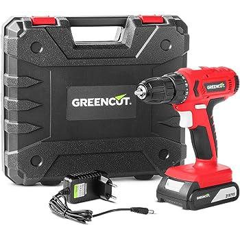 GREENCUT TD210L - Taladro atornillador perforador inalámbrico de batería de litio 21V, Herramienta 2 en 1 con luz LED iluminación punto de trabajo