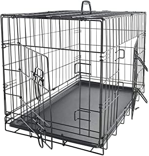 """Mumoo Bear 48"""" Dog Crate Dog Cage Dog Kennel Metal Wire Double-Door Folding Pet Animal Pet Cage with Plastic Tray and Handle"""