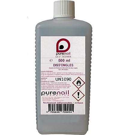 DISS'ONGLES Pure Acétone PURENAIL, 1 flacon de 500 ml, dissout les vernis à ongles, le gel Uv et les faux Ongles Purenail