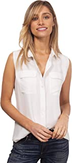 CAMIXA Womens 100% Silk Shirt Ladies Silk Blouses CasualLong Sleeve Elegant Top