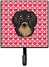 Caroline's Treasures Leash Key Holder BB5283SH4 Longhair Black and Tan Dachshund Hearts Wall Hook Small Multicolor