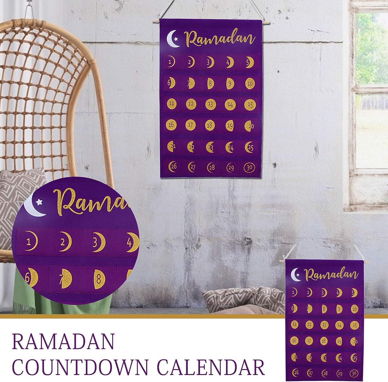 Purple Eid Mubarak Decorations 30 Days With Pockets for Kids Eid Gifts Ramadan Ornament For Party Decor pattnse Ramadan Advent Calendar Hanging Felt Countdown Calendar