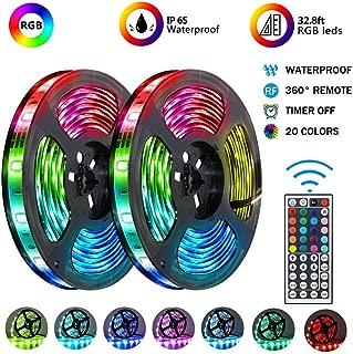 LED Strip Lights 【Upgraded 2019】Kit 2-Pack x 5M /32.8ft 300 LEDs SMD 5050 RGB Light, 44 Key Remote Controllerand 12V 5A Power Supply, Flexible Changing Multi-Color Lighting Strips