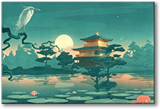 Spoonbills Modern Wall Art Fantasy Japanese Fairy Tale Painting Printed on Canvas for Home Decor Lifestyle Artwork (Chinoiserie & Fairy Tale)