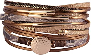 Leather Wrap Bracelets for Women Goldplated Metal Crescent Cuff Bracelet with Magnetic Buckle Casual Bohemian Wrist Bangle Jewelry Gift for Ladies Teen Girls Sister Mum ¡
