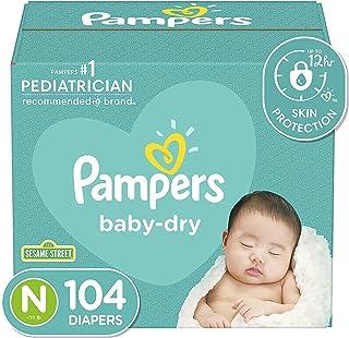پوشک نوزاد / اندازه 0 (<10 پوند) ، 104 تعداد - پوشک بچه یکبار مصرف خشک Pampers Baby ، سوپر پک