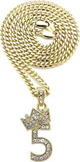 gold number 5 pendant