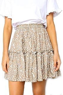 Women's Floral Flared Short Skirt Polka Dot Pleated Mini...